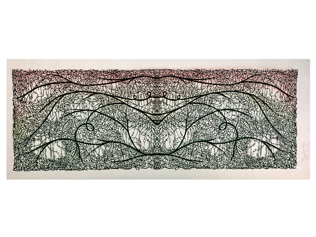 Andres Paredes - Del monte- hand-cut painted paper - 27 x 19 inches