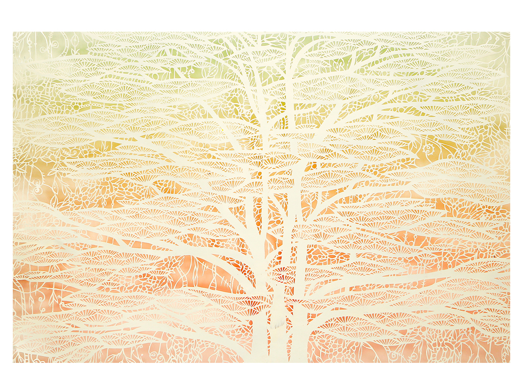 Andres Paredes - Espectral 01-hand-cut painted paper - 27 x 39 inches