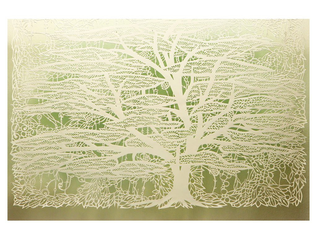 Andres Paredes - Espectral 02- hand-cut painted paper - 27 x 19 inches