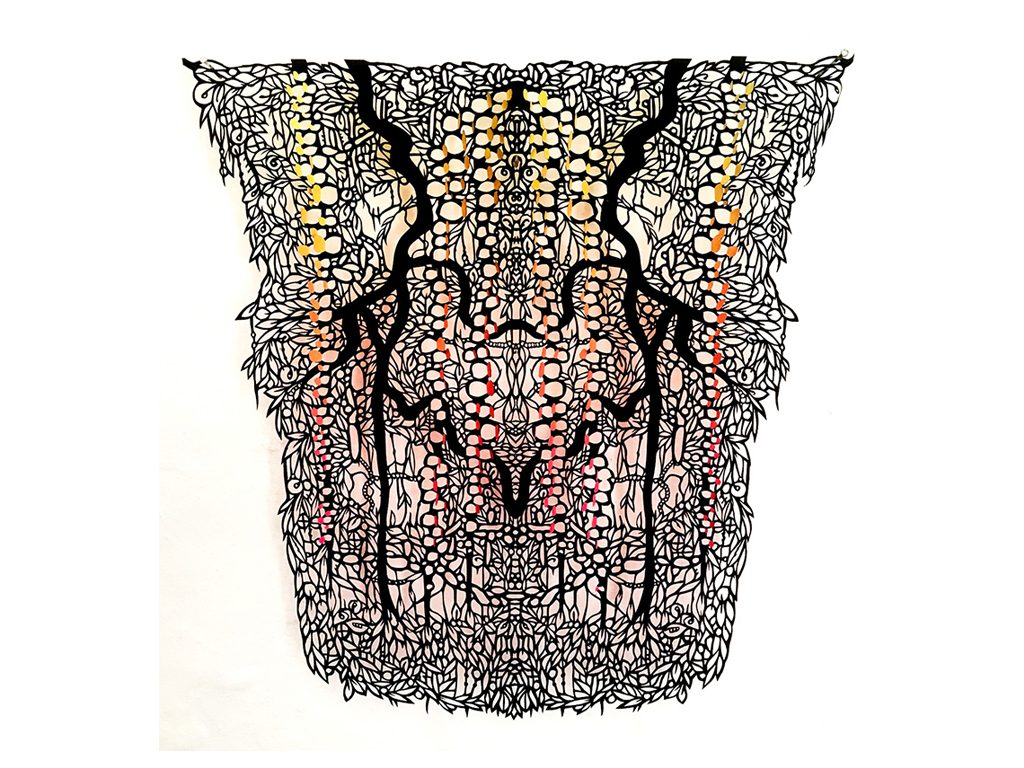 Andres Paredes - Frutos de la selva - hand-cut painted paper - 27 x 20 inches
