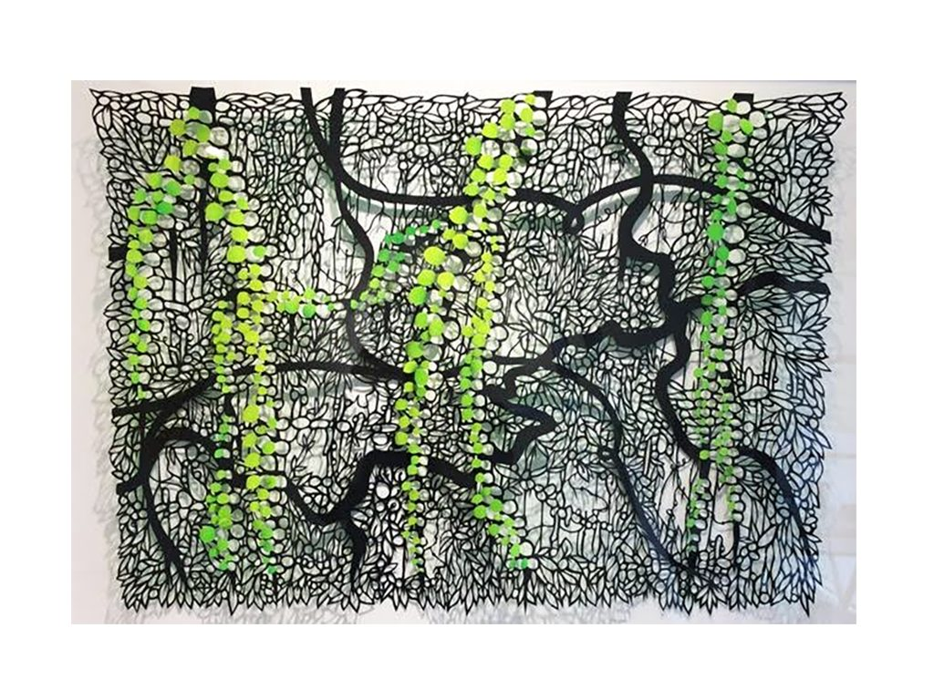 Andres Paredes - Lianas 2- hand-cut painted paper - 27 x 20 inches
