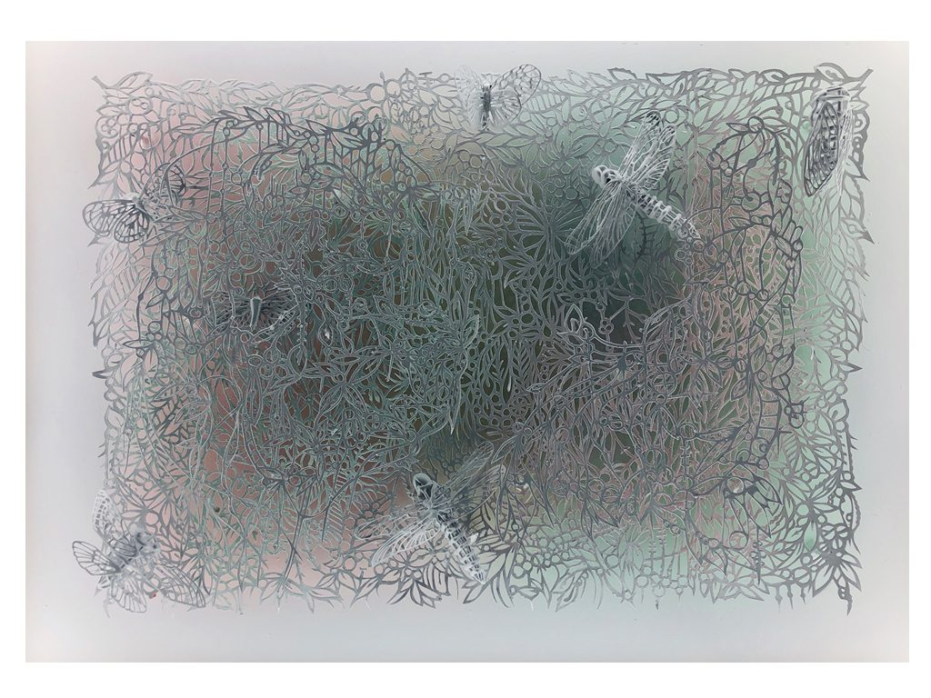 Andres Paredes - Selvaclara - hand-cut painted paper with insects made of resin. Contains light. - 27 x 35 inches