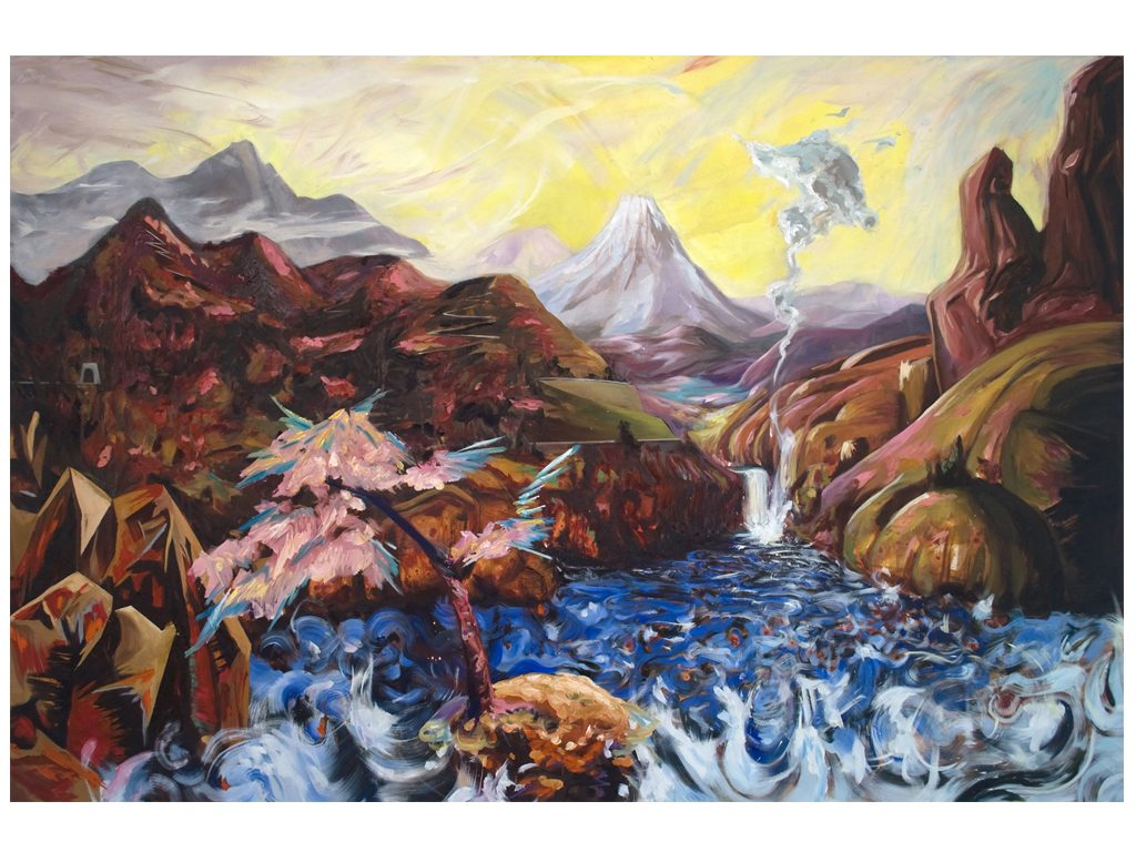 Harumi Abe - Homage to bierstadt - 48 x 72 inches - acrylic and oil on canvas