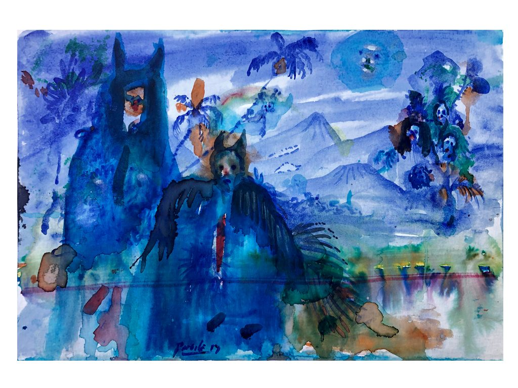 Lucas Pertile - lo que llevo la marea 29x6 inches - watercolors and cinder on paper