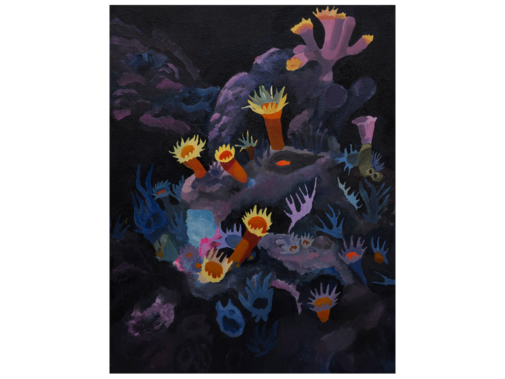 Iris, making a rainbow from the sky to a coral nr.5 - 8 x 26 inches