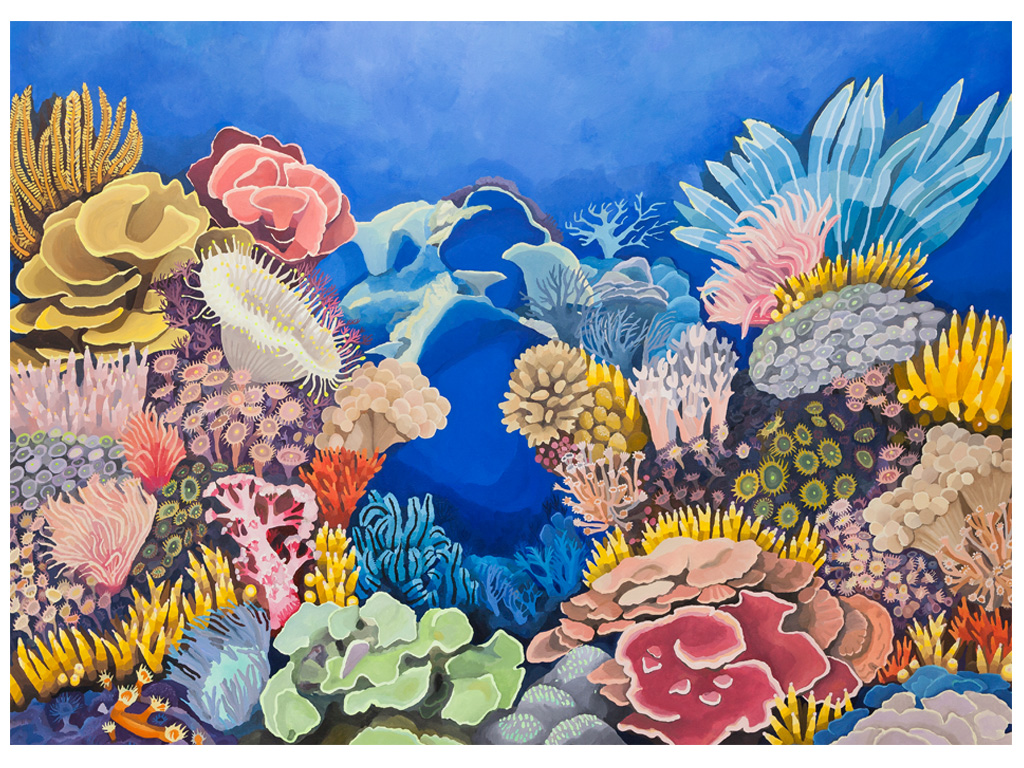 Iris, making a rainbow from the sky to a coral nr. 4 - 78 x 56 inches