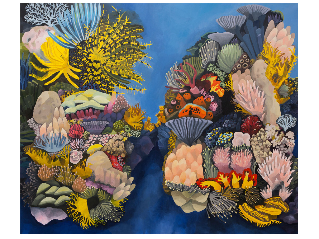 Iris, making a rainbow from the sky to a coral nr.1 - 78 x 78 inches