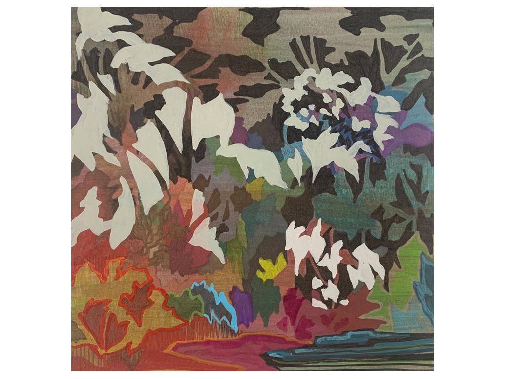 """Lucía Spotorno - """"De Noche"""" - 8 x 8 inches - Mixed media on paper - 2021"""