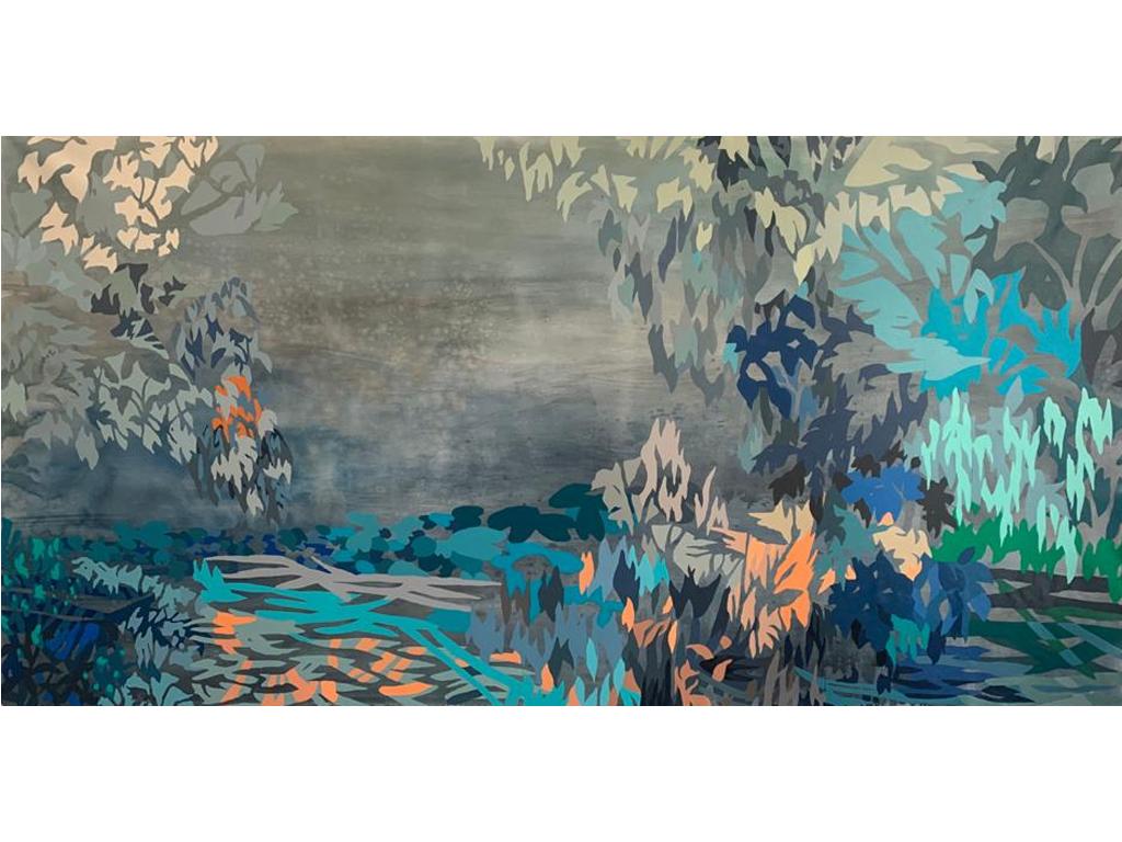 """Lucía Spotorno - """"Río de Camalotes"""" - 39 x 78 - Acrylic on canvas - 2021"""