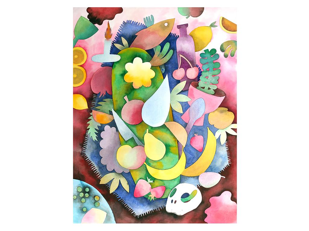 "Ana Clara Soler - ""Naturaleza Muerta I"" - 25 x 19 inches - Watercolor on paper - 2019"