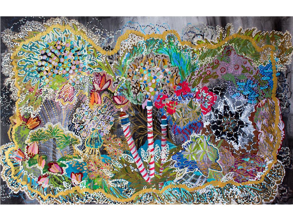 "Lía Porto - ""Coral"" (ViscayaSeries) - Acrylic on canvas - 30 x 48 inches"