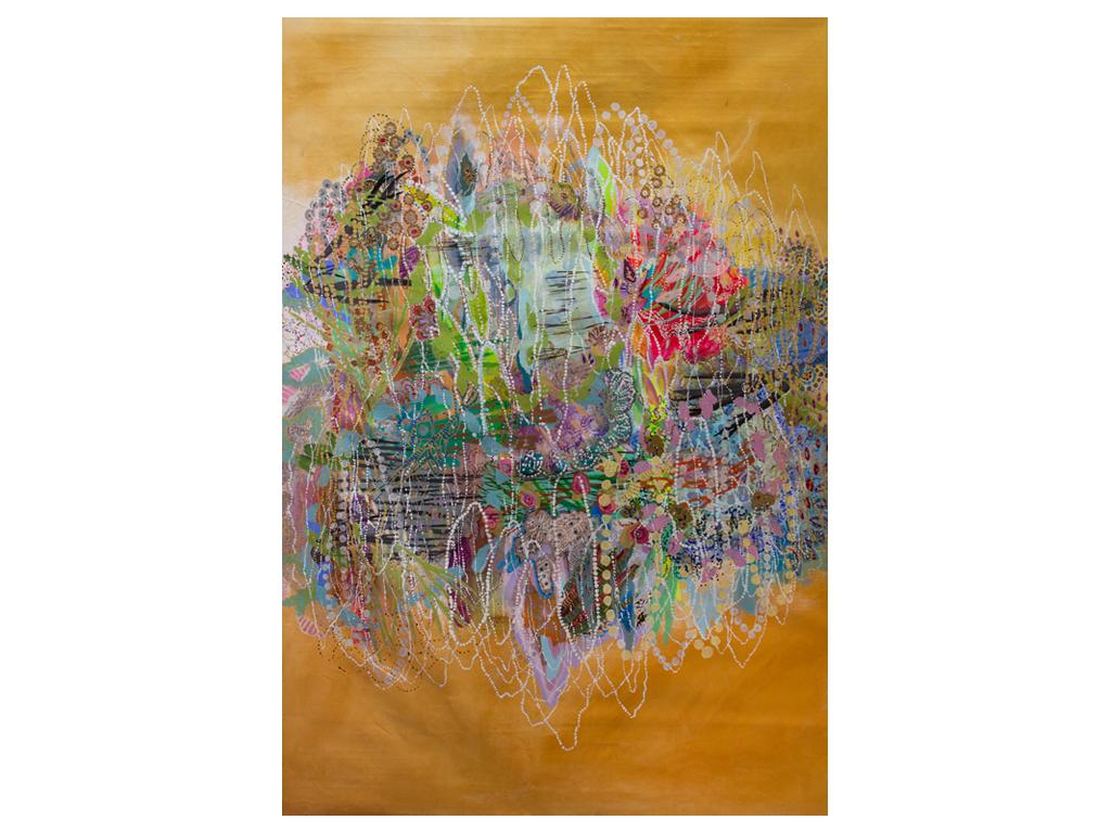 """Lía Porto - """"No hay lotos en el orquideario"""" - Acrylic on canvas - 82 x 56 inches"""