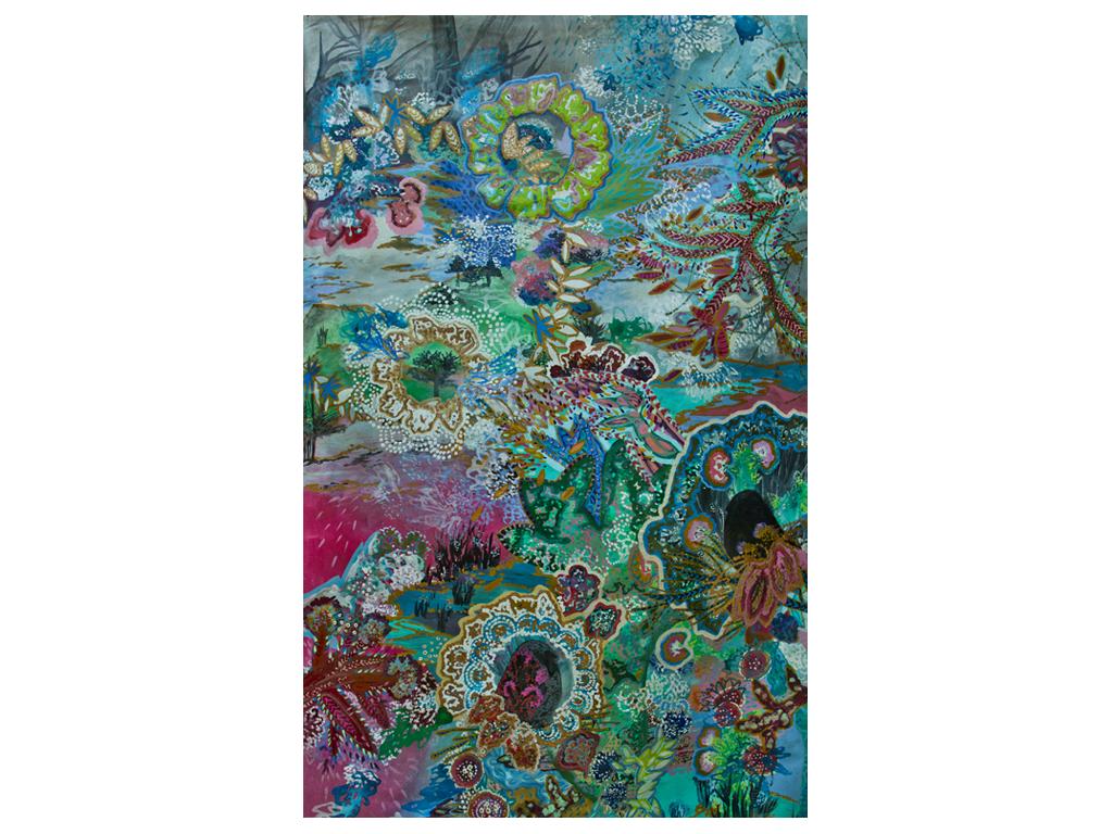 """Lía Porto - """"Que diria Lee?"""" - Acrylic on canvas - 78 x 47 inches"""