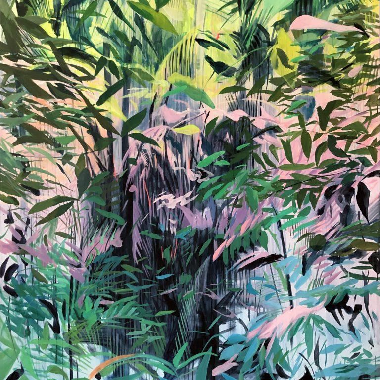 HarumiAbe - Inner Paradise - Acryla gouache and acrylic on canvas - 66 x 52 inches