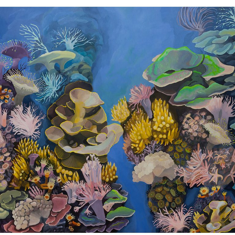 Iris, making a rainbow from the sky to a coral nr.2 - 78 x 78 inches